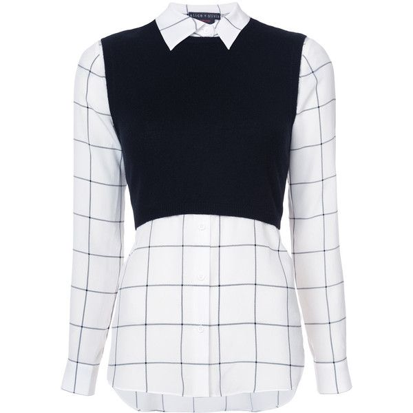 Alice+Olivia Lucinda layered shirt ($395) ❤ liked on Polyvore featuring tops, black, shirt top, double layer shirt, double layer top, layered tops and alice olivia top