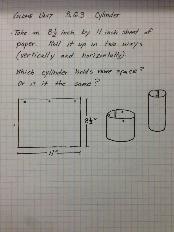 Volume of Cylinder 8.G.3 use of circumference formula, volume formula, given edge dimensions