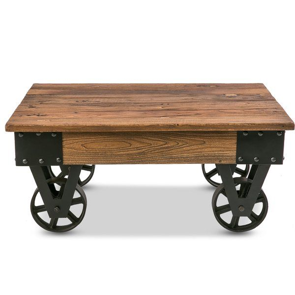 Deon Wheel Coffee Table Rectangle Coffee Table Wood Solid Wood Coffee Table Coffee Table With Casters