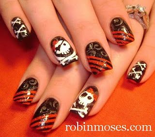 pirate nails with bone corset nail art tutorial www.youtube.com/watch?v=SkjKy6yE_XQ