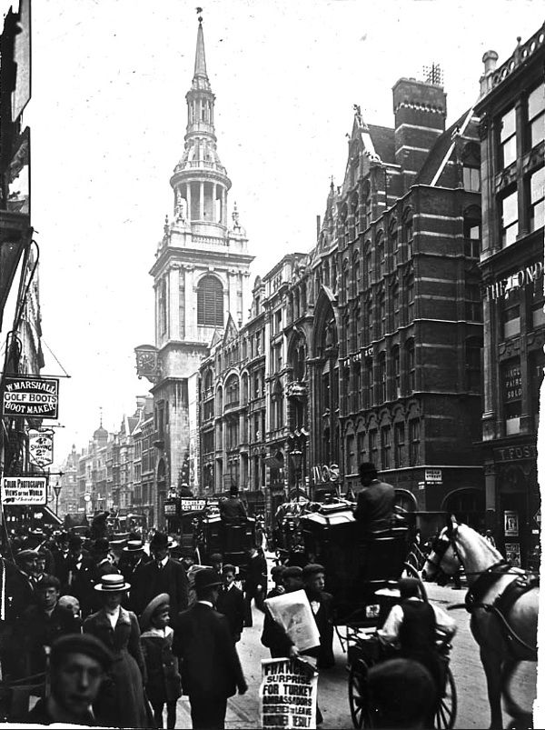 London. Cheapside with St. Mary Le Bow, 1910 from Spitalfields Life