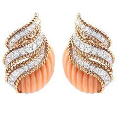 Van Cleef & Arpels Coral  Diamond Earclips