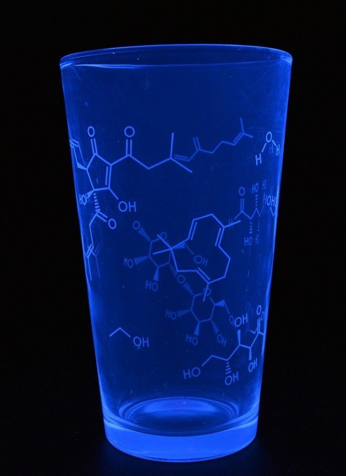 A Pint Glass With Chemical Structures Of Water Ethanol Humulene And Other Beer Compounds Fluoresces Sky Blue Under An Ultr Science Stickers Pint Glass Glass