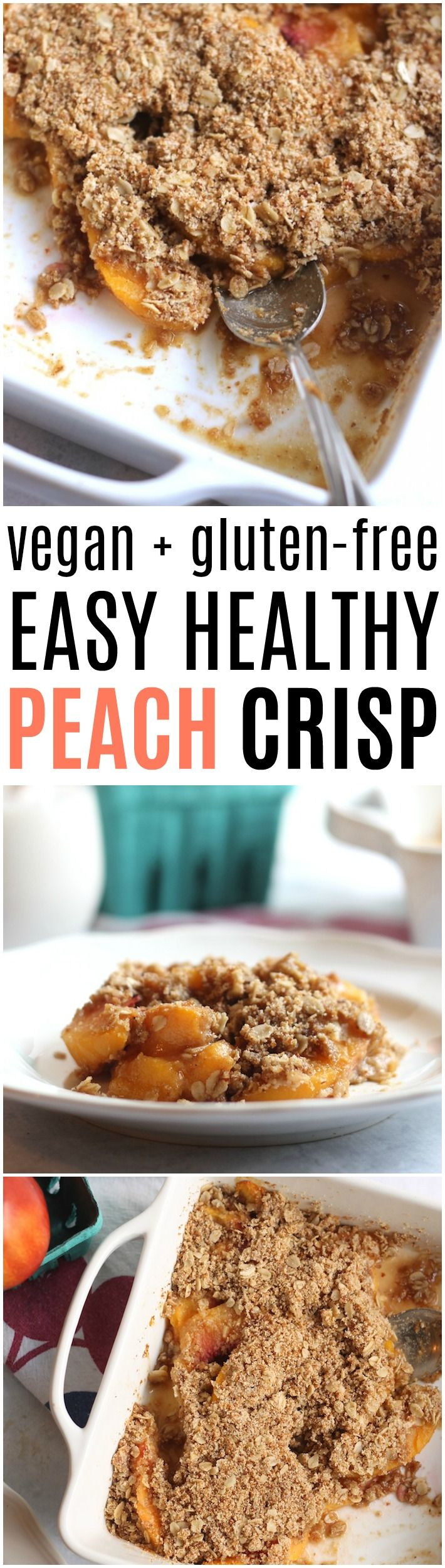 This simple vegan and gluten-free peach crisp only requires 8 ingredients and comes together in minutes! Whip it up for a tasty treat the whole family will adore.