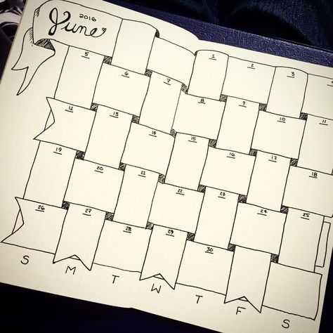 My first bullet journal monthly spread. #bujo#june#calendar#diy