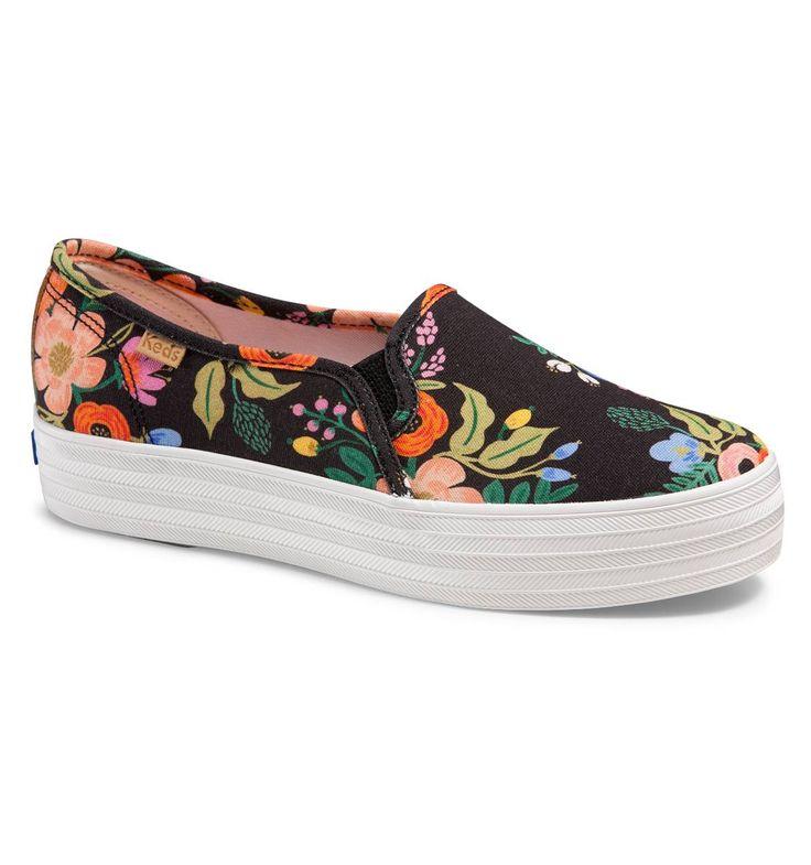 Triple Decker Slip-On Platform Shoe in Lively Floral