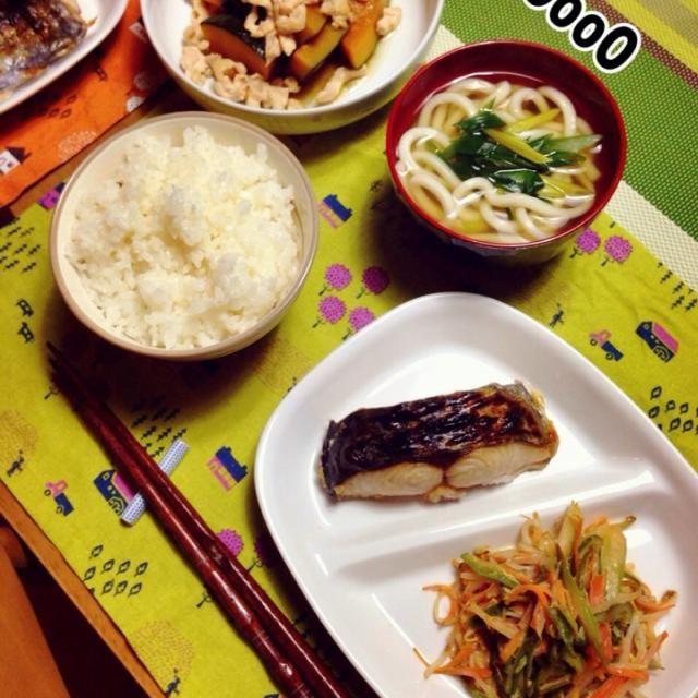 さわらの塩焼き 野菜のマヨポン炒め かぼちゃの煮物 ミニうどん - 23件のもぐもぐ - 11/7  晩ごはん by hir0oo0