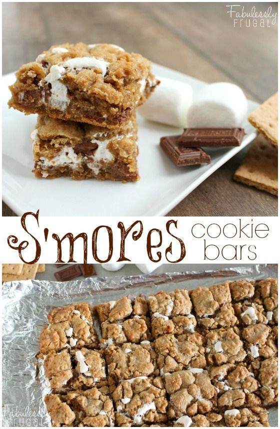 Delicious S'mores in cookie bar form! Mmm. Soft, buttery, graham cracker-flavored cookie bars with smooth chocolate and gooey marshmallow layered throughout.