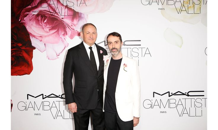 Couture Week has brought a lot of camaraderie to Giambattista Valli and his friends as they celebrated his new makeup collection with M·A·C in Paris. Pictured: John Demsey, Giambattista Valli