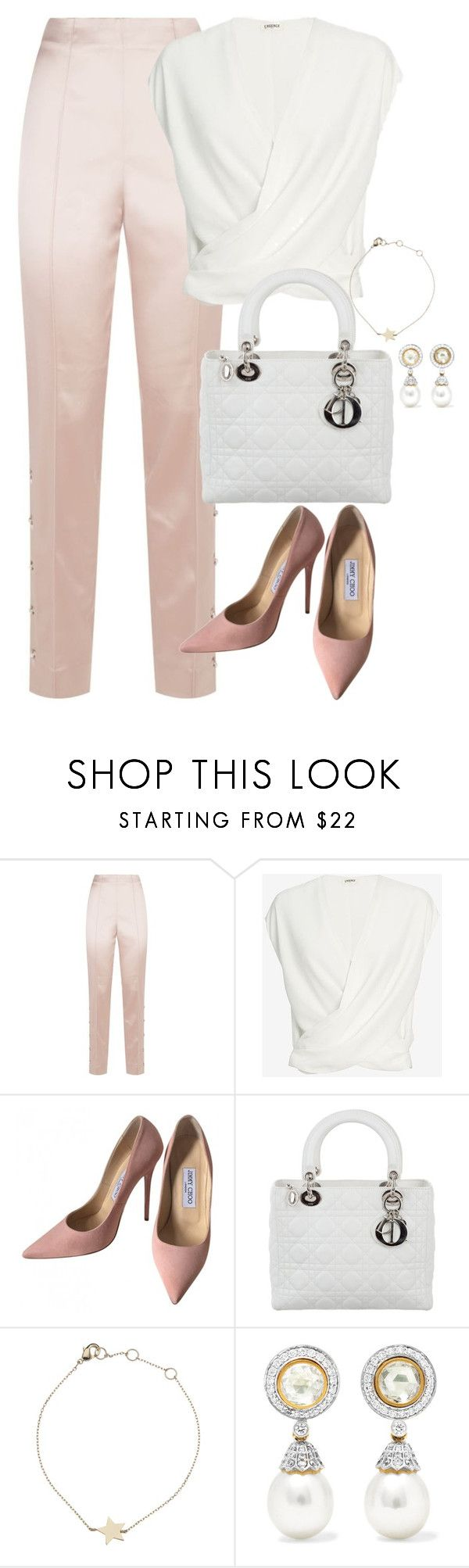 """Unbenannt #2479"" by luckylynn-cdii ❤ liked on Polyvore featuring St. John, L'Agence, Jimmy Choo, Christian Dior, Estella Bartlett and Amrapali"