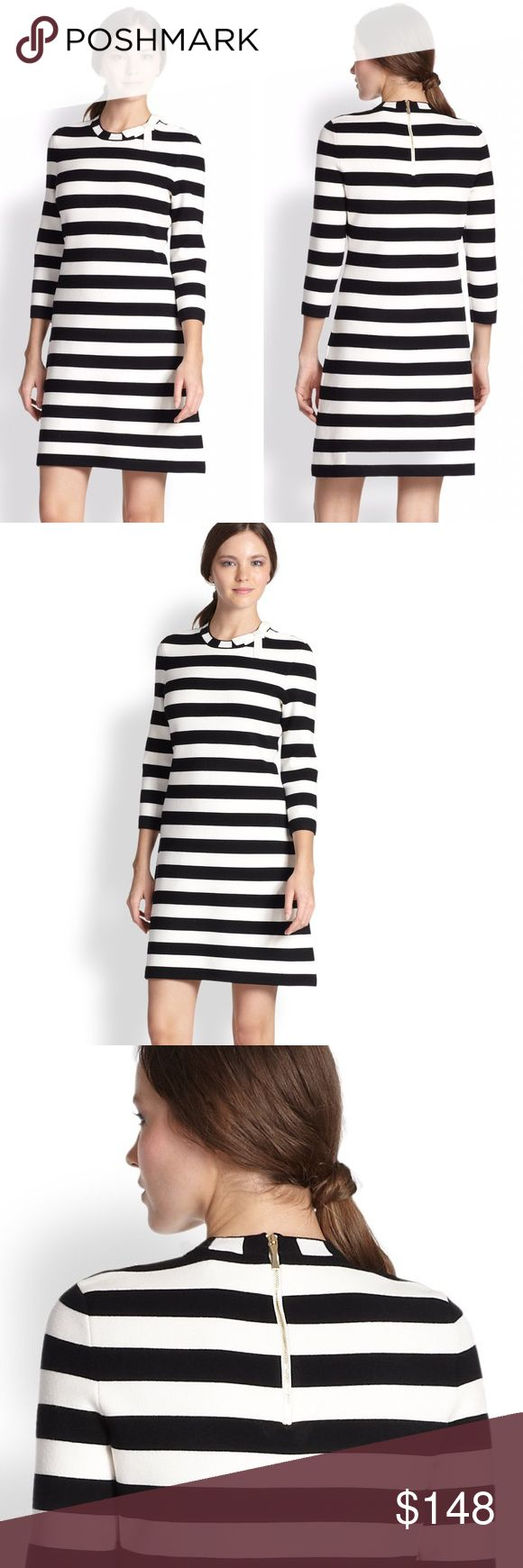 Kate Spade • Shira black and white striped dress Kate Spade ♠️ Shira striped black and white 3/4 sleeve dress. Almost could be considered a sweater dress. Thick material. Size S. Retail $238. See size guide and specs last 2 photos. Little makeup spot on back inside zipper but everything else looks fantastic. kate spade Dresses
