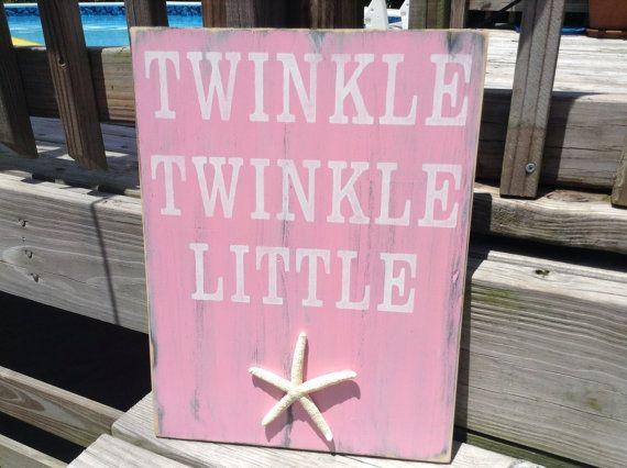 Beach Sign Twinkle Twinkle Little Starfish Coastal Cottage Nautical Nursery Decor on Etsy, $32.50