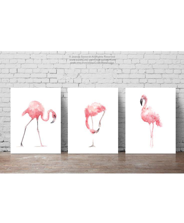 Flamenco rosado Set 3 grabados flamencos Flamingos de
