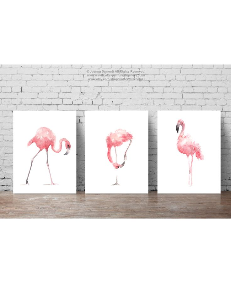 Pink Flamingo Set 3 Art Prints, Flamingoes Whimsical Tropical Artwork, Pink Bird Wall Decor, Flamingos Wall Art Abstract Watercolor Painting by ColorWatercolor on Etsy