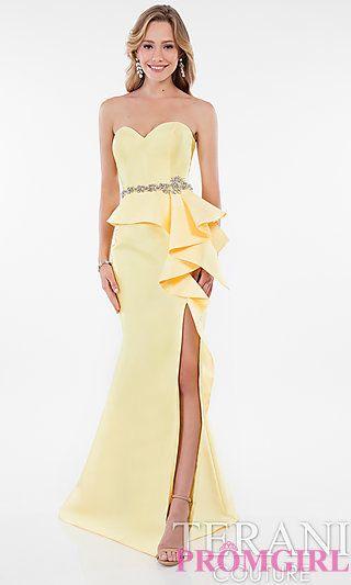 Long Strapless Sleeveless Peplum Prom Dress at PromGirl.com