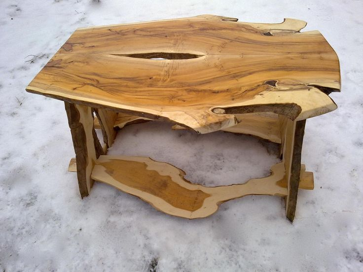 Yew Wood Coffee Table Bookmatched Natural Edges With Natural Edge Legs