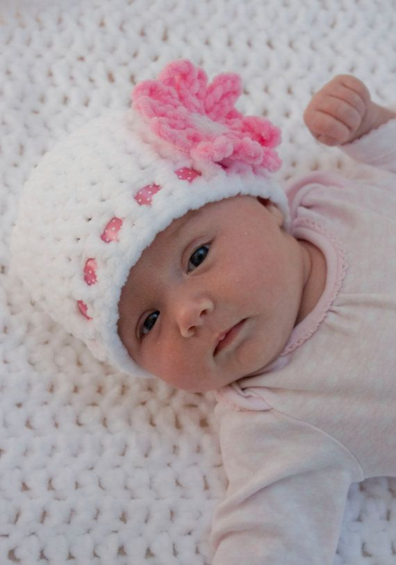 Baby Girl Beanie White Baby Hat Crocheted By