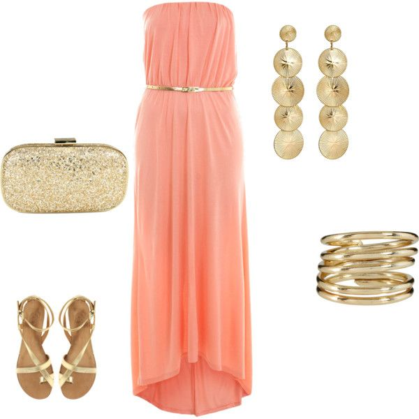 Gold & Coral. Bridesmaid Dress