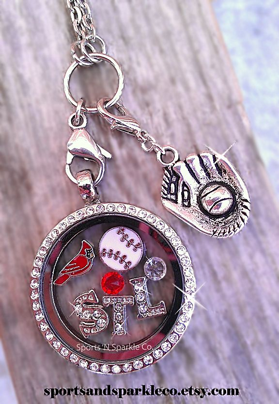 St. Louis Cardinals Baseball ~ Sports Team, Collegiate Floating Keepsake Glass Locket with Your Choice of Charms, Hearts, Dangles and More. Personalized your way.  www.facebook.com/sportsandsparkle  ~I so need this!!!!