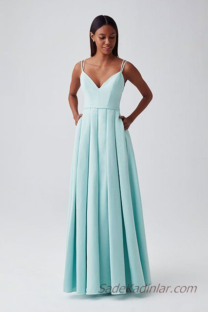 6c25f3f3297bb 2019 Abiye Elbise Modelleri Su Yeşili Askılı V Yakalı Kalın Pileli Etekli