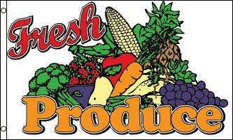 NEOPlex 3' x 5' Fresh Produce Flag by NEOPlex. $6.95. This 3 x 5 foot flag is made from super polyester that is durable, yet lightweight enough to fly in even the lightest breeze. It has 2 brass grommets firmly attached to heavy canvas on the inner fly side. Bright, vivid colors and colorfast to reduce fading. Many titles to choose from.