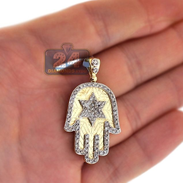 Custom Made 14k Diamond Hamsa Pendant Jewish Pendant Jewish Hamsa Hand