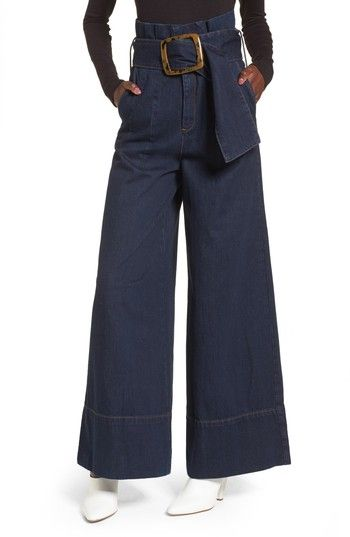 Free shipping and returns on Topshop Boutique Belted Paperbag Flared Jeans at Nordstrom.com. An extra-wide belt with a bold buckle cinches the high, paperbag waist of indigo-wash jeans in a wide-leg cut for a look that's both retro and on-trend.