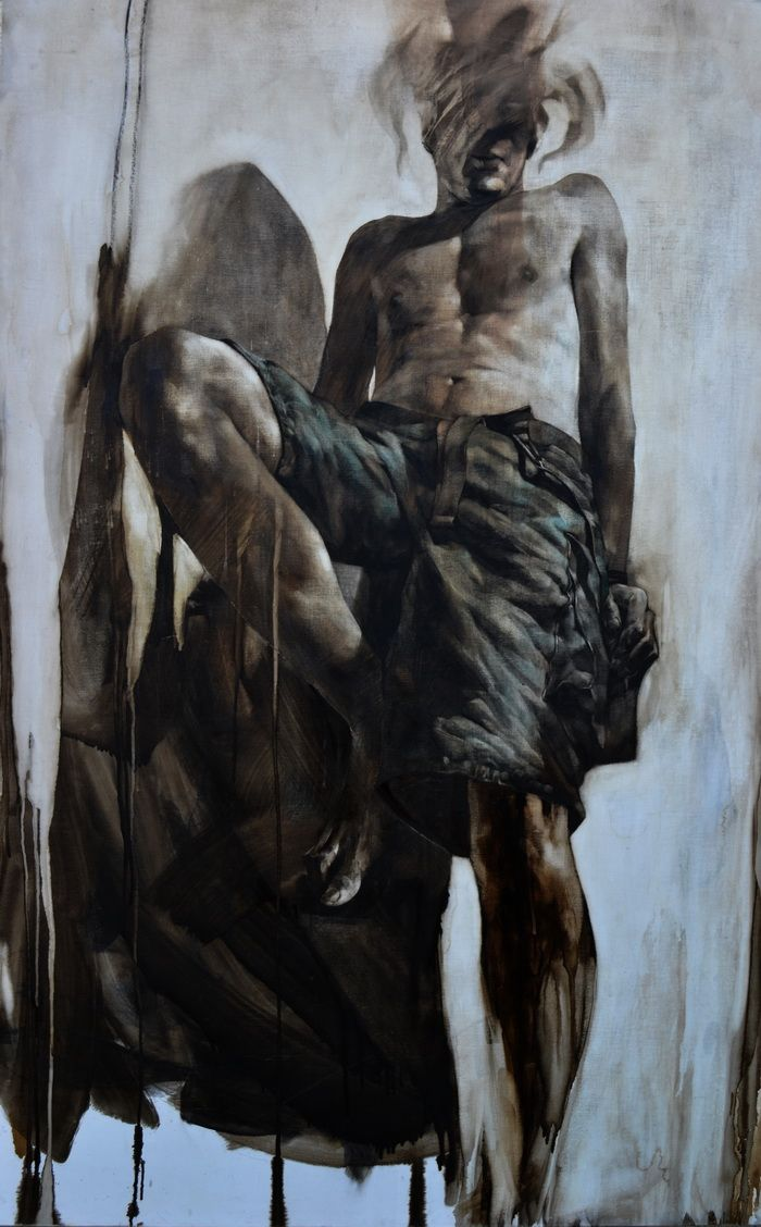 Sofian Albert, King size, 93x148, desen in smoala si pastel uleios pe panza preparata manual,  2010