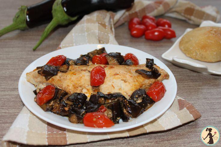 Pesce+spada+con+melanzane+a+funghetto+light