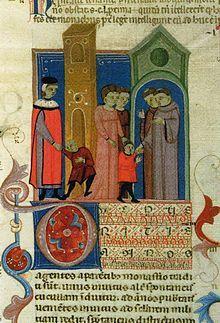 """""""Niños yendo a la Escuela"""" Manuscrito del siglo 14, es boloñes y pertenece al Decretum Gratiani, el cual es uno de los primeras obras del derecho canónico. Estas fueron las primeras representaciones de las escuelas monasticas, en las que los monjes y monjas se encargaban de aprender e impartir temas tanto religiosos como seculares"""