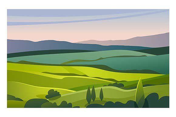 Green valley landscape by Kurokstas on @creativemarket