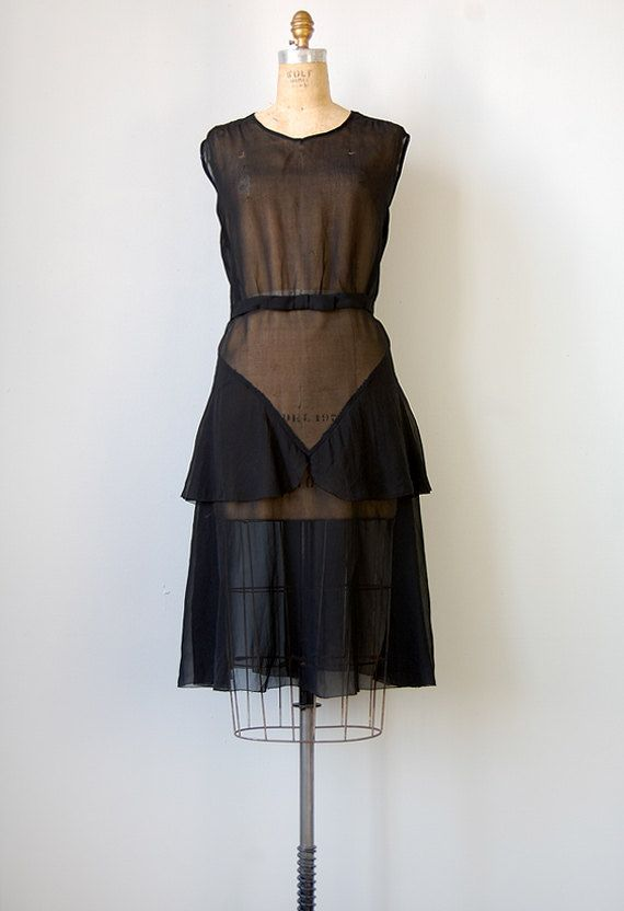 vintage 1920s sheer black flapper dress #vintage