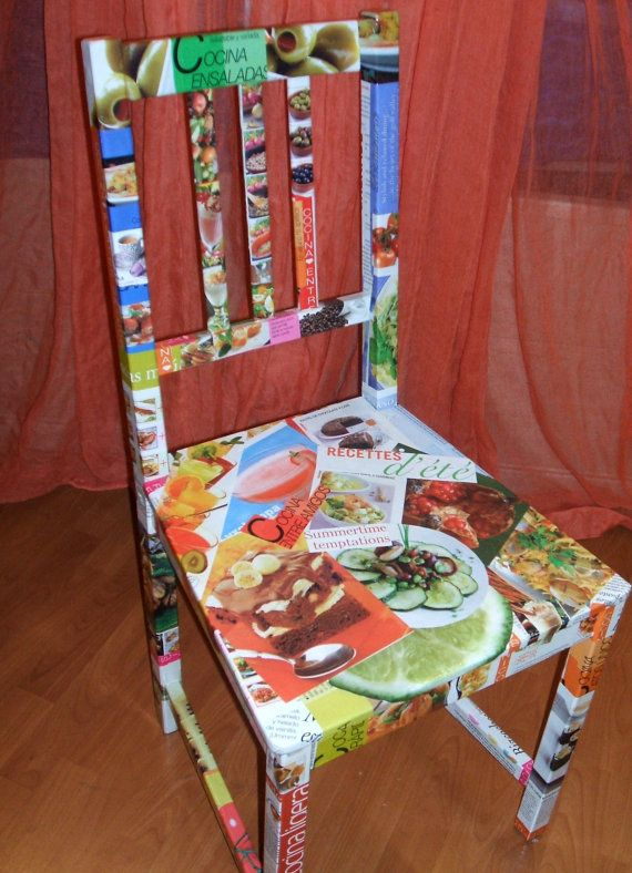 Autumn chair wooden chair decorated with food pictures for Cadlow mural world