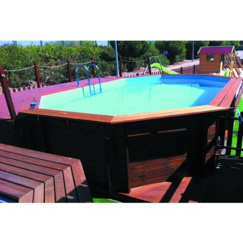 PISCINE OCTOGONALE BOIS MASSIF 645 X 410 X 130 CM. Filtre à sable 5678 L H, avec echelle exterieur bois | Your #1 Source for Toys and Games