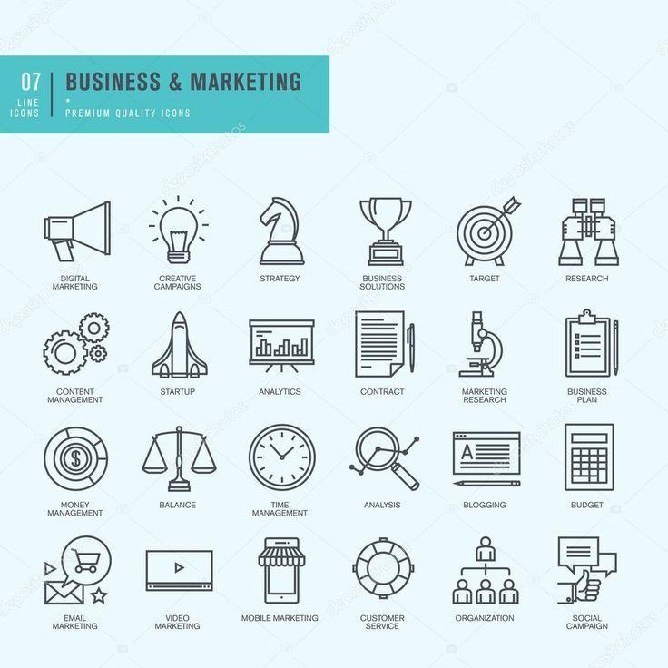 Набор иконок тонкая линия. Иконки для бизнеса, цифровой маркетинг — стоковая иллюстрация #74943105