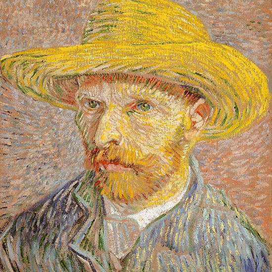 Self-Portrait with a Straw Hat, Artist Vincent van Gogh