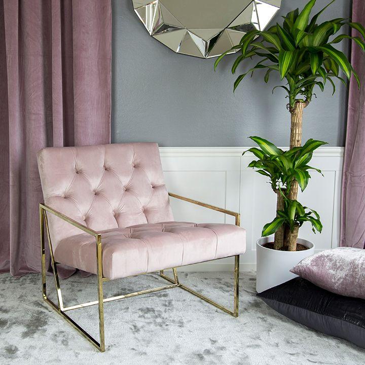 Empire fåtölj modern guldram rosa sammetsfåtölj sammet lyxig mässing