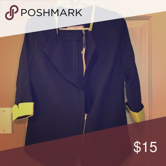 Navy blue with neon yellow accent blazer Brand new navy blue blazer. Neon yellow piping around top with neon yellow sleeve caps. 3 quarter sleeves with short zipper in front. This is an extra large but it will fit a person who is a medium or large Jackets & Coats Blazers