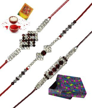 RajLaxmi Swastik Designed CZ With American Diamond Rakhi - Set of 3