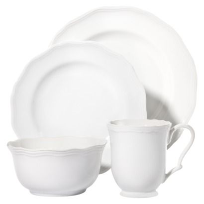 16 piece scalloped dinnerware set white my everyday place setting - White Dinnerware Sets