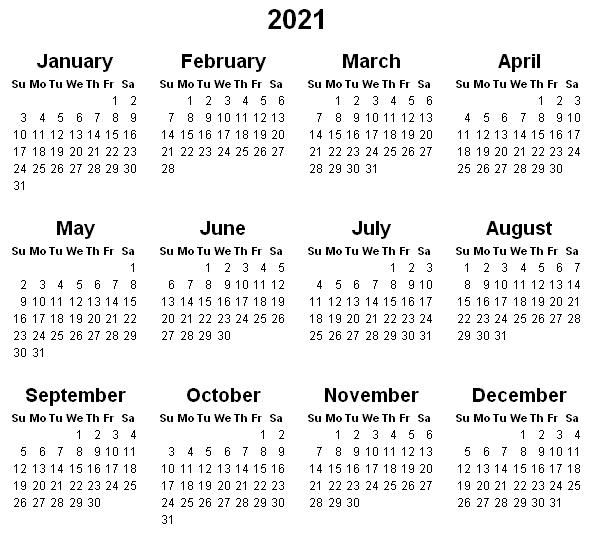 Printable Yearly Calendar 2021 In 2020 Calendar Printables Printable Yearly Calendar 12 Month Calendar Printable