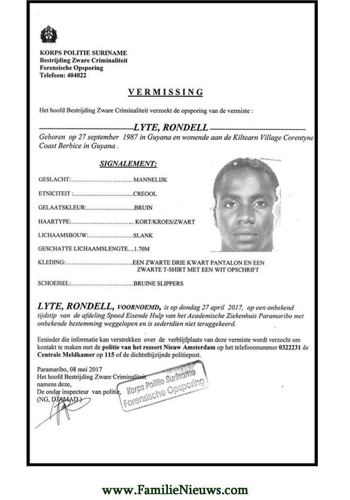 Vermissing - Rondell Lyte Hij is op donderdag 27 april weggelopen van de afdeling Spoedeisende hulp bij het AZP en is sindsdien niet teruggekeerd Bron: KPS