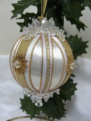 Handmade Christmas Tree Ornament White w Gold Embellishments (sold; idea only)
