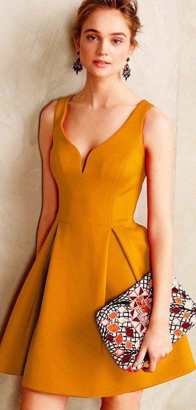 Yellow Sexy Backless Mini Vintage Dress