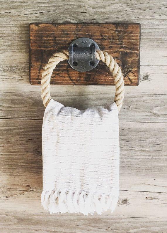 Rustic Rope Towel Holder On Wood Industrial Small Rope