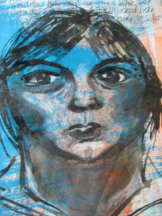 205 x 155 print of original self portrait in by HandmadeInKeswick, £10.00