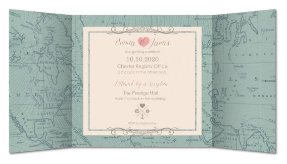 Wedding invitation Vintage world map (RFE-504-TP34)