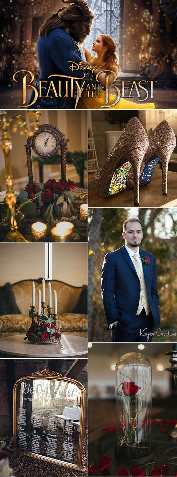 beauty and the beast film inspired winter wedding inspitation ideas
