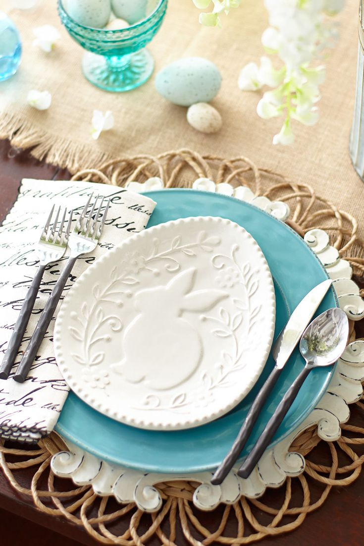 The subtle raised design on Pier 1's White Bunny Egg Plate coupled with soft spring pastels can help you create an elegant Easter setting.