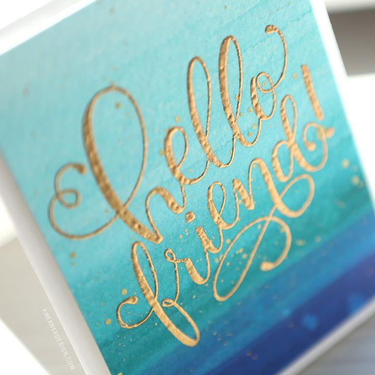 Easy & Simple Friend Card (Watercolor Background & Heat Embossing)